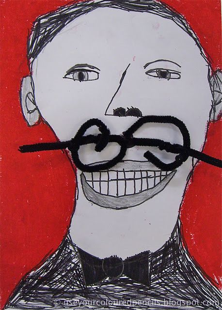 love this, salvador dali moustache portraits. or for 'movember'!