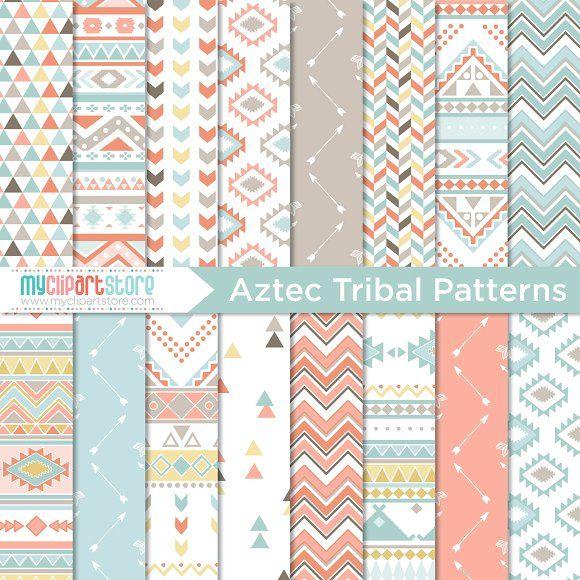 Digital Pattern - Aztec Tribal by MyClipArtStore on @creativemarket