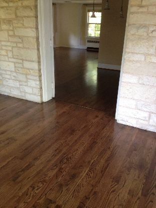 Red Oak with Jacobean Stain THIS IS THE ONE!  Love it!  Not too! dark, not too light, with lots of variation
