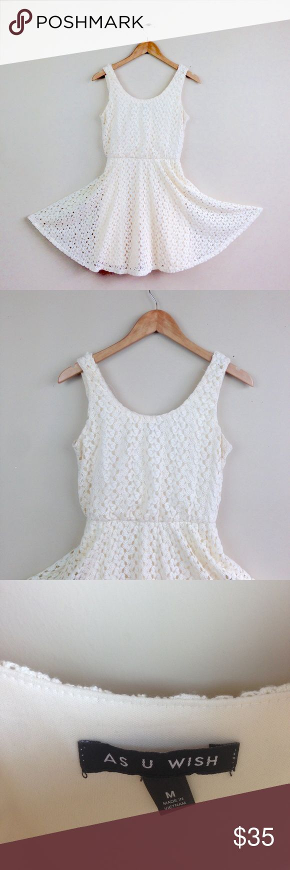 "Ivory lace crochet tea Dress womens Sz M D24 measurements when flat: ~Bust (armpit to armpit) 17"" waist 12""-16"" ~length (shoulder down side) 33""  fully lined   size  Medium     PLEASE CONTACT ME with any questions or concerns  before or after a purchase!  i am here to help! :) as you wish Dresses"