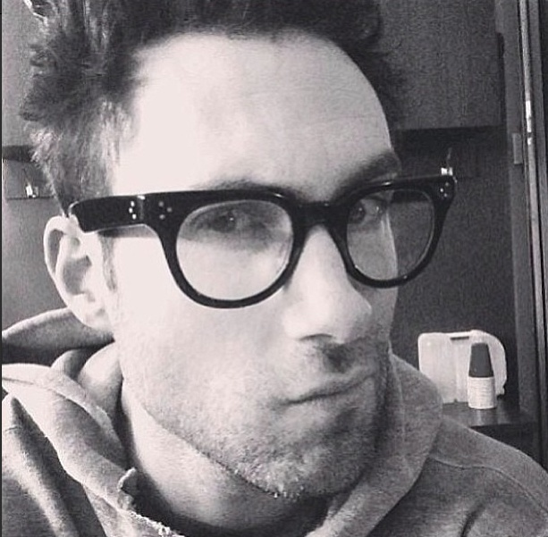 """Adam Levine - posted on his Twitter thru Instagram 2/14/13 - """"Trying to look smart"""""""