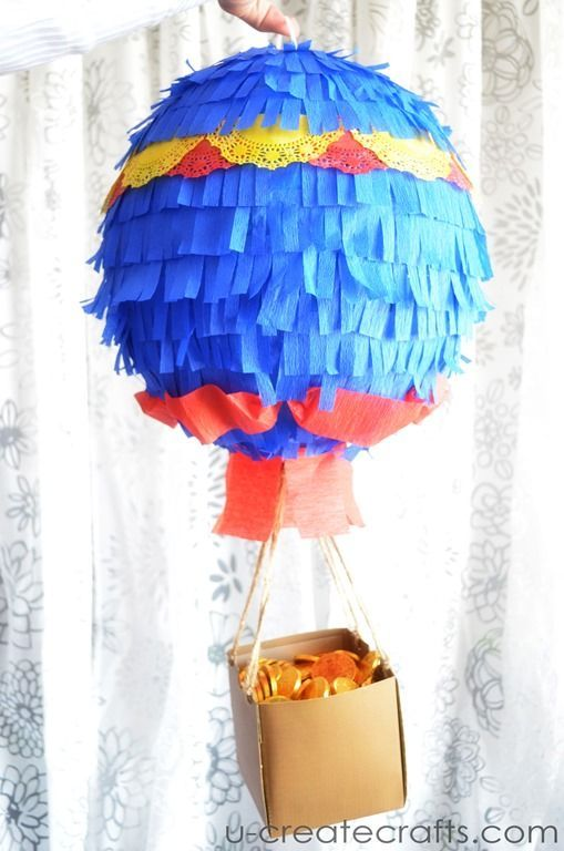 We love this twist on a traditional Pinata for kids birthday parties. Hot Air Balloon Pinata Tutorial