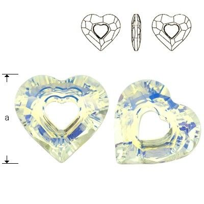 6262 Miss U Heart 26mm Crystal AB  Dimensions: 26,0 mm Colour: Crystal AB 1 package = 1 piece