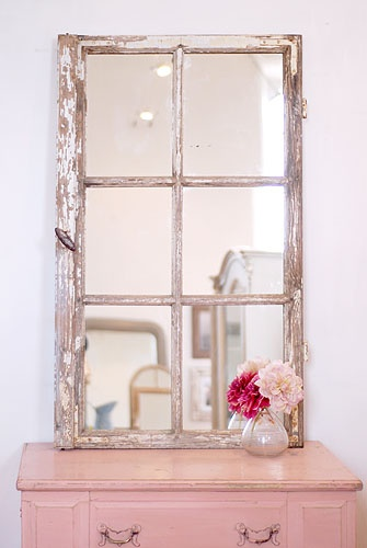 French Window Mirror, I have French dishes, and only one small mirror in the kitchen...tada! a solution!
