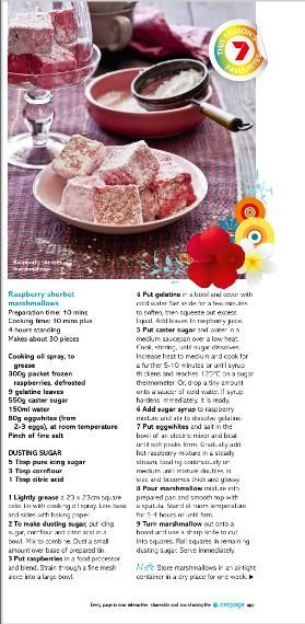 Raspberry sherbet marshmallows. Clipped from Better Homes and Gardens using Netpage.