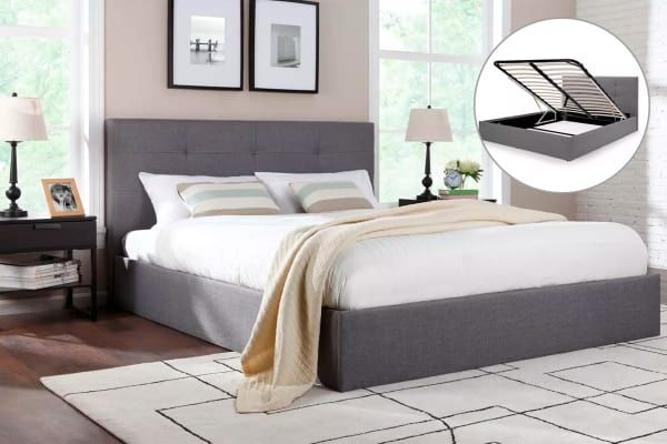 Calabria Gas Lift Bed Grey Double 250 Bed Frame Leather Bed Frame Bed Frame With Storage