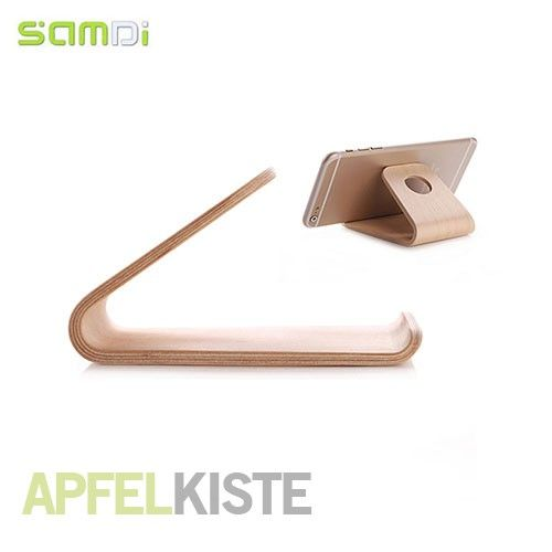 1 x Samdi - Echt Holz Ständer / Halterung für Smartphone und Tablet - Braun 4 x Anti-Rutsch Silikon-Aufkleber