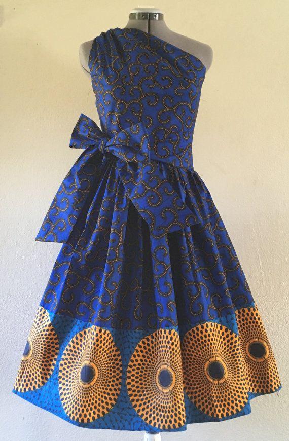 Ziemlich gemischte African Wachs drucken eine Schulter Kleid