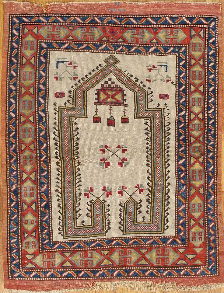 "Western Anatolian prayer rug,circa 1880, 4'.0""x3'.2"" (122x97 cm)."