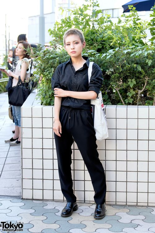 Arin on the street in Harajuku with a shaved... | Tokyo Fashion
