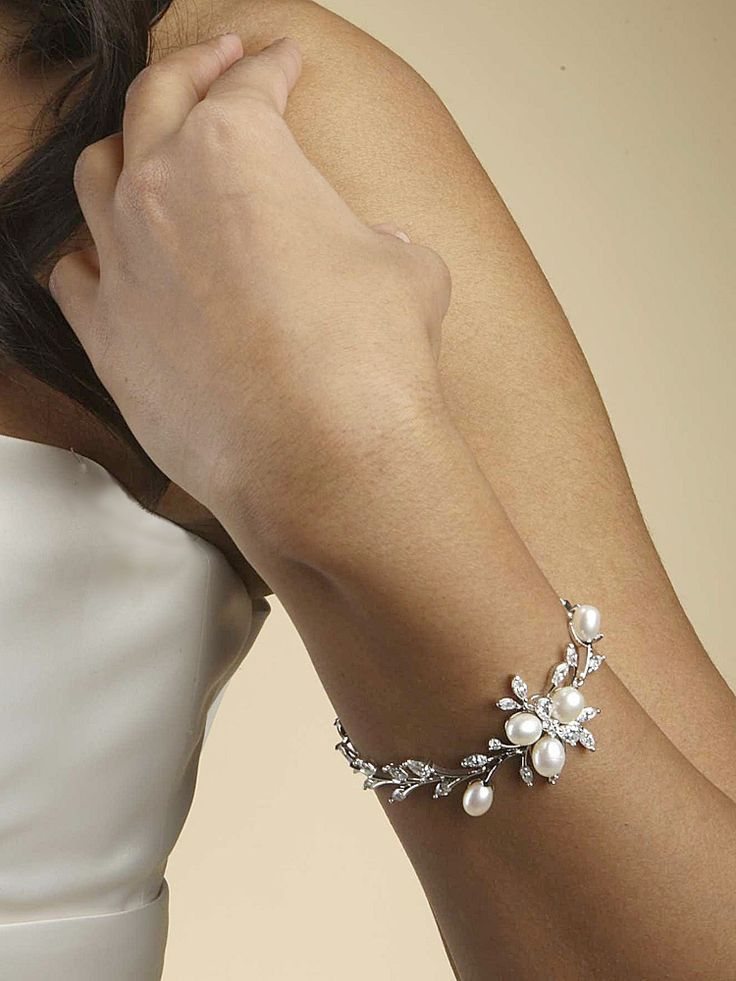 Mariell Freshwater Pearl and CZ Bridal Bracelet