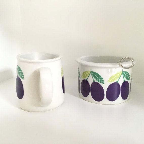 Arabia Pomona plum jar sugar bowl and by VintageDesignTreats