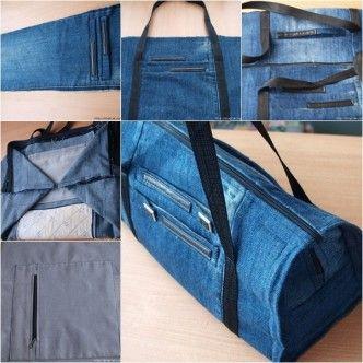 DIY cool big long handbag from jean tutorial, instruction.  Follow us: http://on.fb.me/1rWIbQo