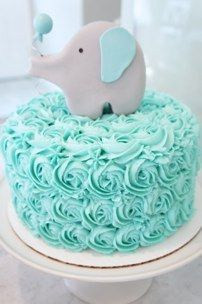 Adorable blue elephant baby shower cake - the perfect addition to an elephant baby shower theme!