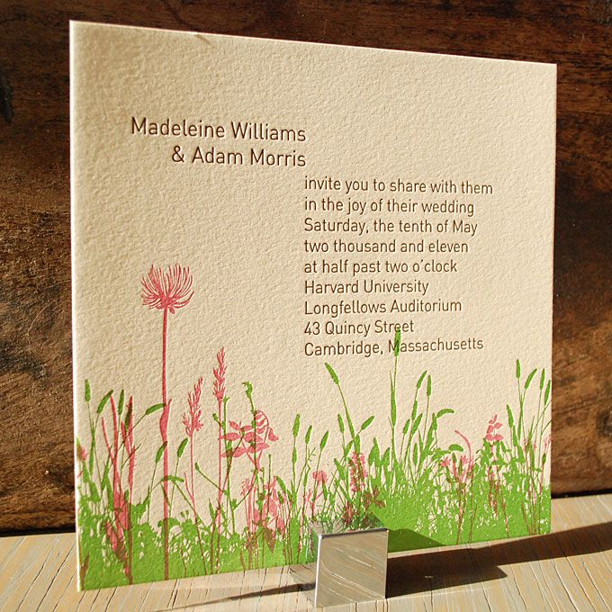 Brides: Wildflower-Inspired Letterpress Invite. This letterpressed design evokes the feel of a stroll through a field of wildflowers on a warm sunny day. Madeleine invitation, $816 for 100 invitation suites, 9SpotMonk Design