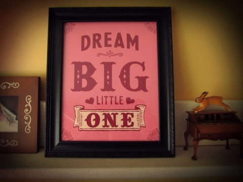 Dream Big Little One print, shown in raspberry! Also available in blueberry! So cute!! $20.00 by Earmark Social.