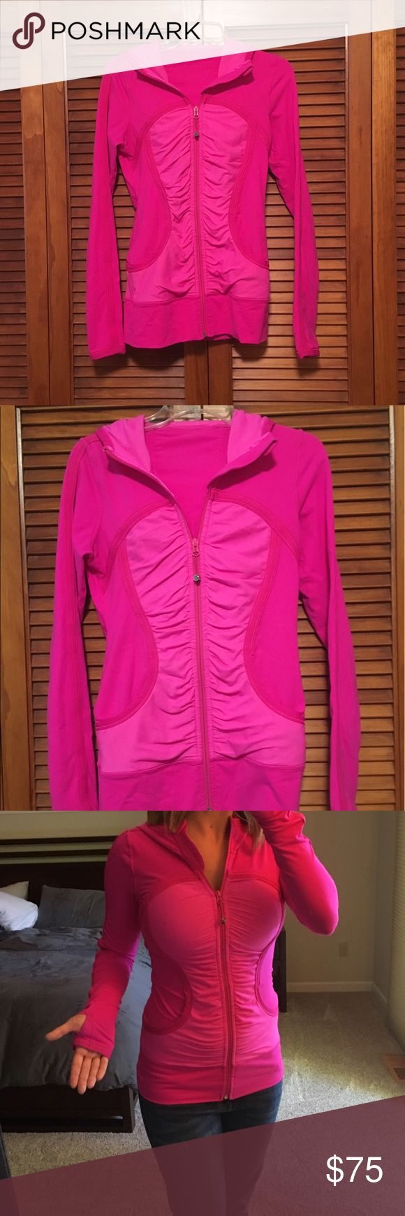 Lululemon Pink Zip Up Hoodie My most favorite piece of Lulu ever! I'm so sad to see it go, but it's too snug on me :( Bright pink- I always received compliments when I wore this jacket. Please ask questions. lululemon athletica Jackets & Coats