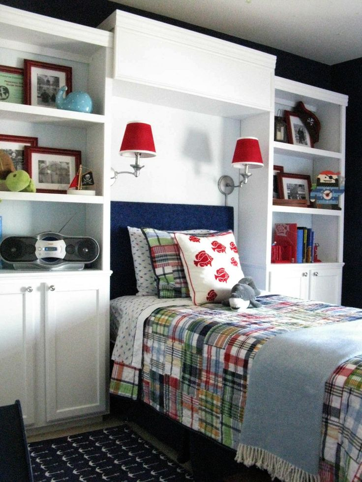 LOVE this transformation from toddler room to big boy room! The built-ins are made from kitchen cabinets, and the colors are perfect to grow with!