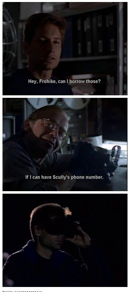 left out the part where Mulder says that it's men like Frohike that give perversion a bad name.... and then he goes and does that. tsk tsk