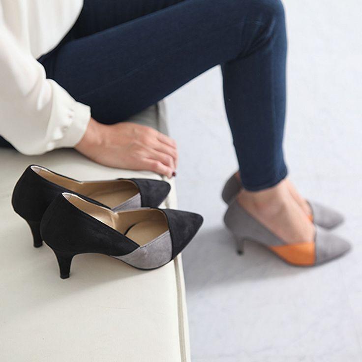 Made In Korea Women's Almond Toe Pumps Heels Suede Shoes Smart Work Meddle Heel #DeamTree #PumpsClassics #WeartoWork