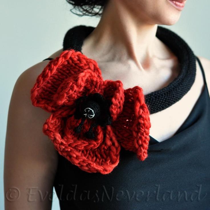 Poppy Dream - hand knit crochet art necklace, collar, fiber jewelry, fiber art by Evelda's Neverland, Etsy