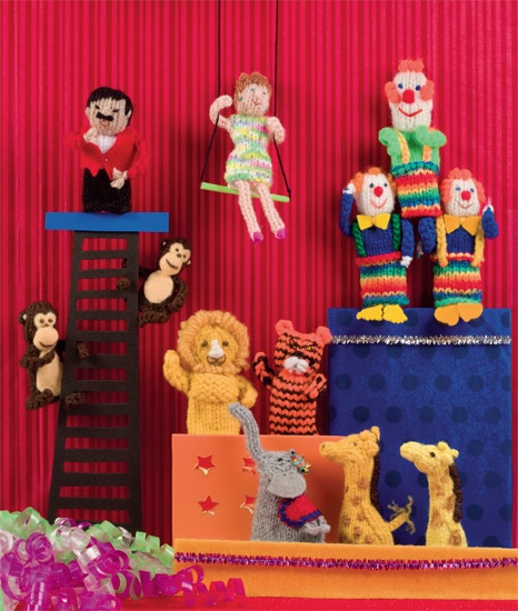 At the circus--knitted finger puppets!