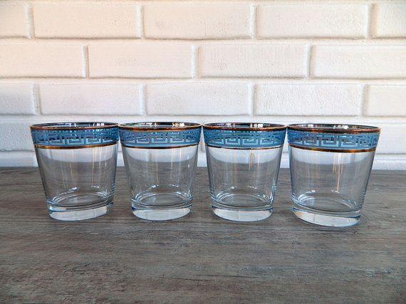 Set of 4 Vintage Rock Glasses Vintage Bar Glasses by GnarledWares