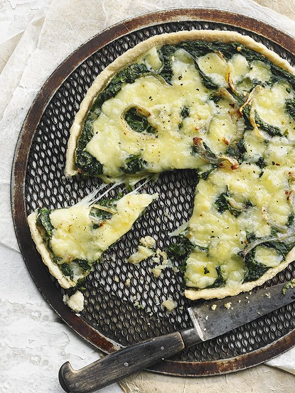 Spinach and fontina tart - This easy, cheesy spinach and fontina tart is a great vegetarian centerpiece, just make sure you check the fontina packaging to ensure it's made with vegetarian rennet.