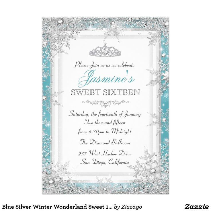 Teal Blue Silver Winter Wonderland Sweet 16 Invitations. Pretty snowflakes and tiara design by Zizzago.
