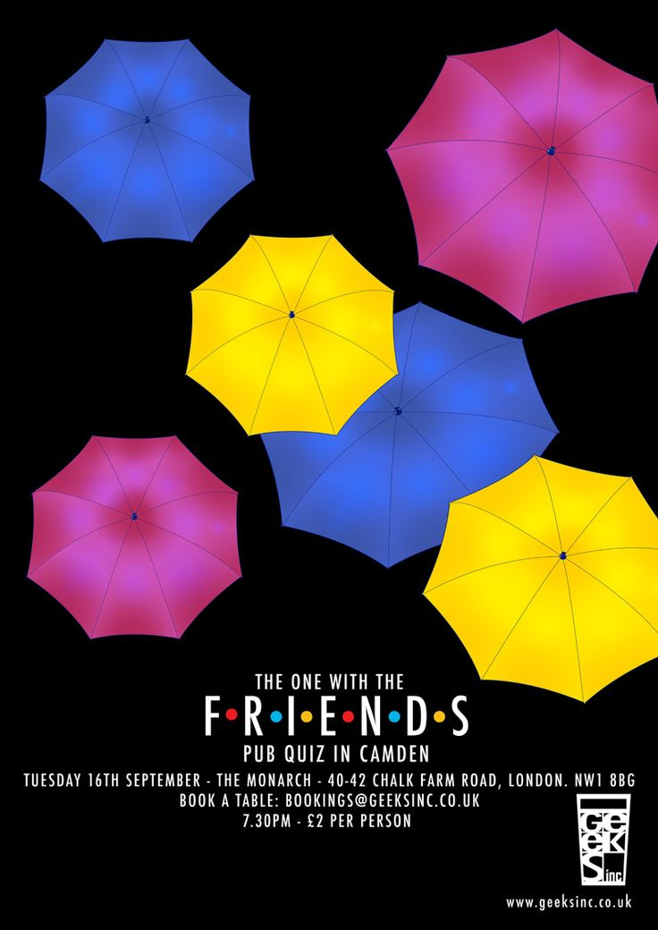 FRIENDS - THE PUB QUIZ | Sep 16th in London | The Monarch, 40-42 Chalk Farm Road, London, NW1 8BG | 7.30pm | £2 | Team Size: Up to six people