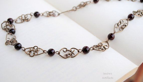 Garnet necklace/Chain necklace/Handcrafted by Ianira on Etsy