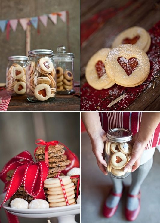 Jam heart cookies. (could also use Christmas shapes to make them more festive) More
