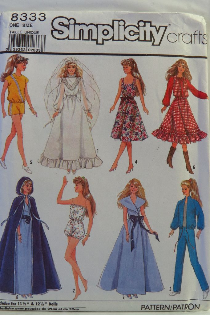 "Simplicity 8333 Wardrobe for 11½"" and 12½"" Fashion Dolls"