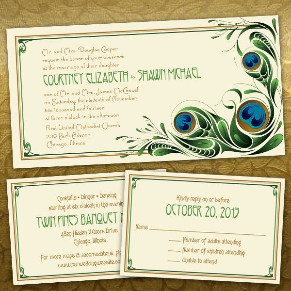 Custom Abstract Peacock Wedding Invitations from PuttinOnTheGlitz4U via Etsy.