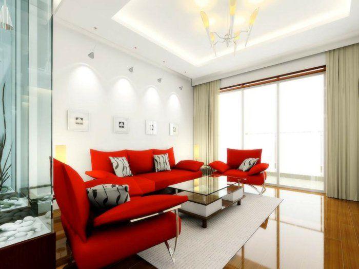 Rotes Sofa Wohnzimmer Einrichten Das Rote