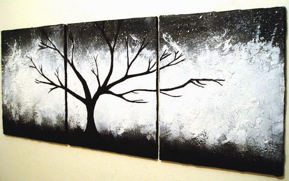 """Original painting abstract triptych landscape large painting impasto wall canvas art black white Modern Palette Knife Painting 20 x 48 """""""