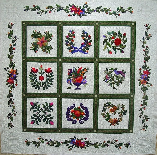 appliqued quilt by Marian Deslattes: Gatework Patterns, Marian Deslatt