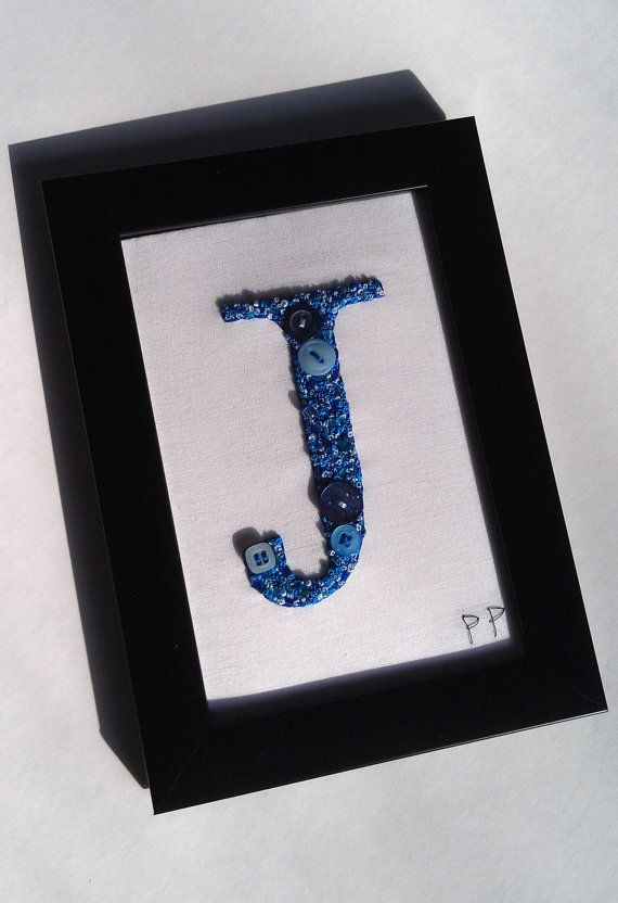 Boy birth gift Handmade Embroidered initial J by PatricksPieces