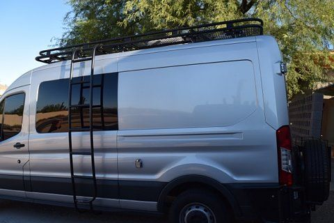 Ford Transit Van with Aluminess roof rack, ladder and rear bumper