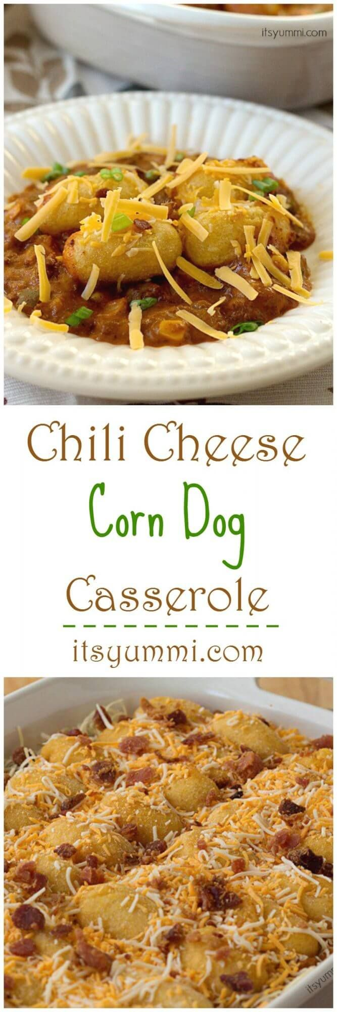Chili Cheese Corn Dog Casserole - This quick, easy, kid friendly dinner recipe can be made in less than 30 minutes. Get the recipe from @itsyummi