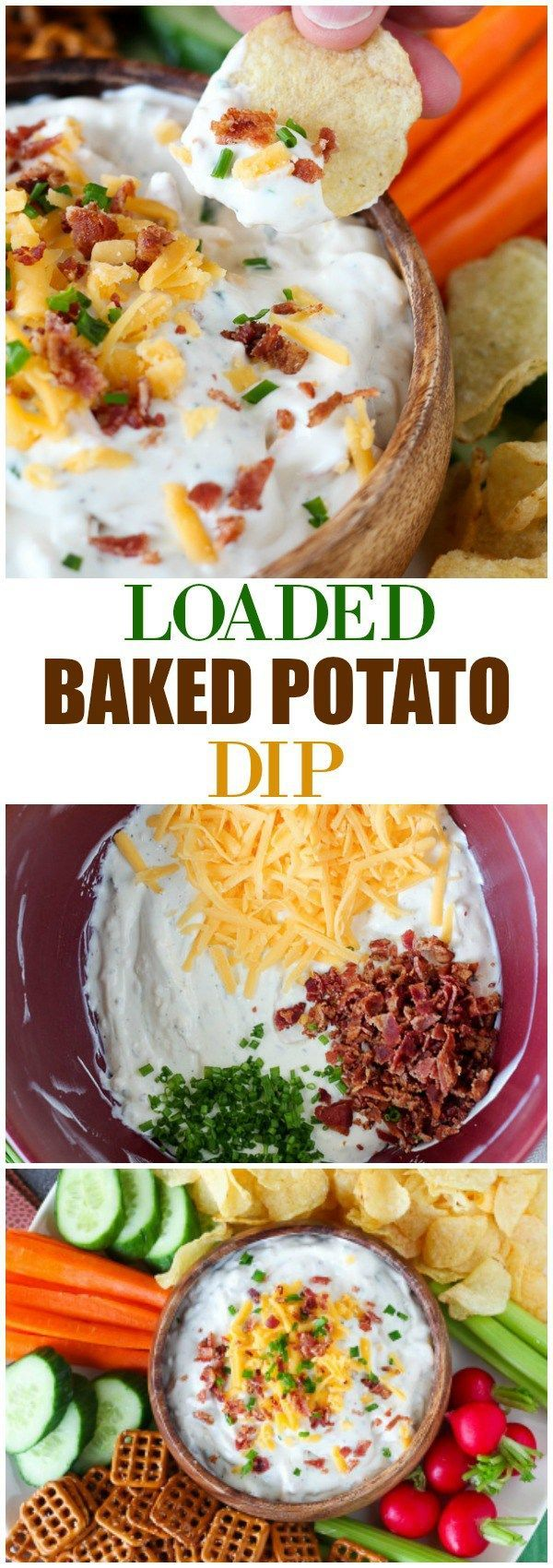 Loaded Baked Potato Dip - A simple and tasty dip filled with sour cream, cheese, bacon, chives and ranch dressing mix. A crowd-pleasing favorite! @capecodchips @snydershanover #ad #TheNewFanFavorites