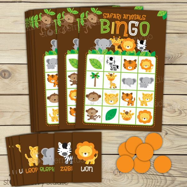 Safari Animals Printable Bingo Game for Birthday or Baby Shower - Instant Download. $8.00, via Etsy.