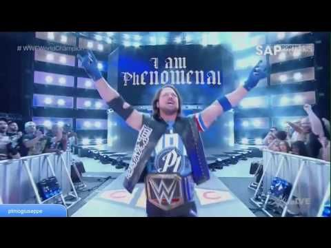 AJ STYLES ENTRANCE WITH THE WWE WORLD CHAMPIONSHIP - YouTube