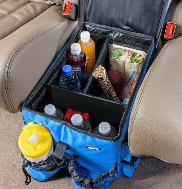 You can make full use of the space between two seats and have a basket there with some drinks, water, fruit, snacks, etc within your reach. http://hative.com/storage-organization-ideas-for-your-car/