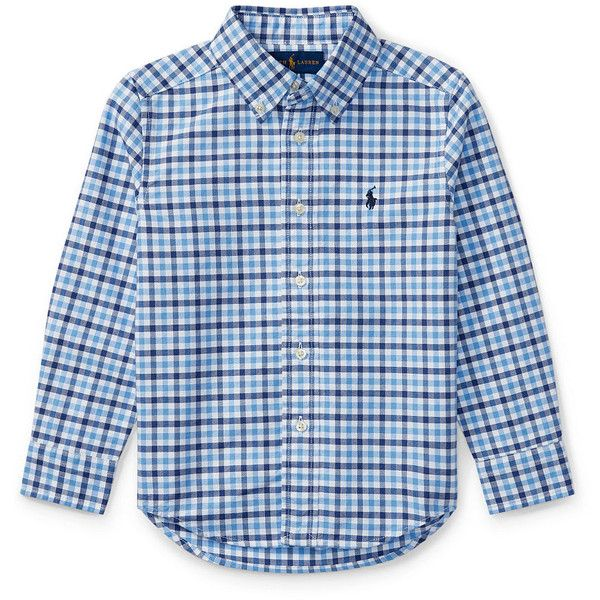 Checked Cotton Oxford Shirt (50 AUD) ❤ liked on Polyvore featuring tops, oxford shirt, blue oxford shirt, checkered top, blue top and checkered oxford shirt