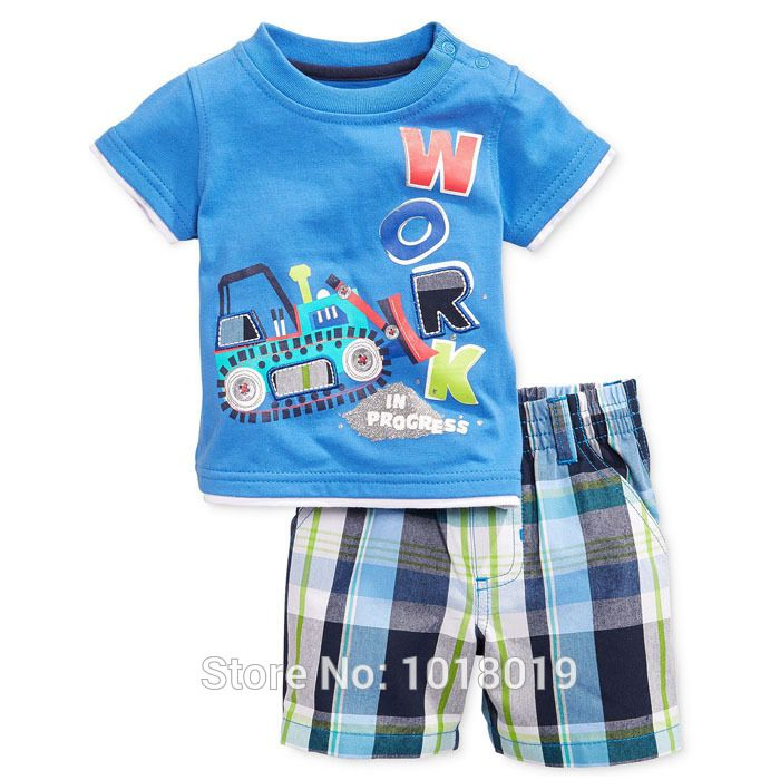 18M~6T, New 2015 Quality Cotton Summer Baby Boy Clothing 2pcs Toddler Children Suit Kids Clothes Sets Branded Baby Boys Clothing