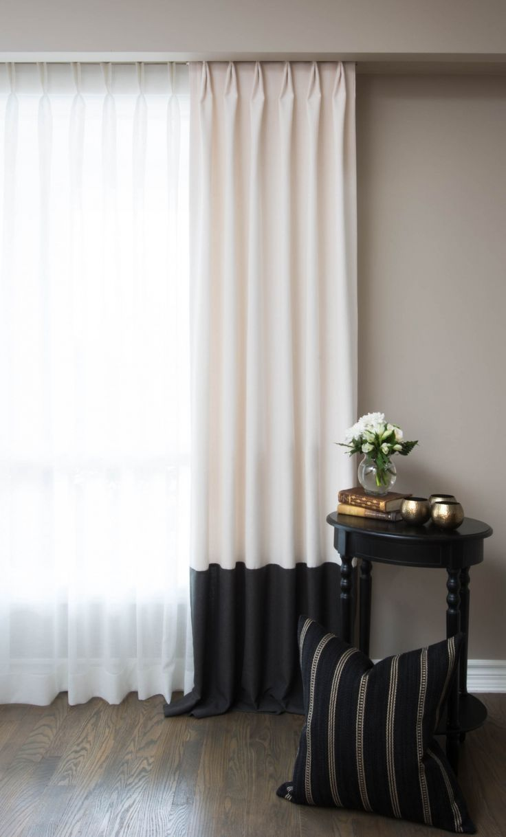 Buy best luxury curtains in india curtains india - Linen Custom Drapery Curtain Panel In Charcoal Grey And Cotton Cream Colour With Banding Readymade