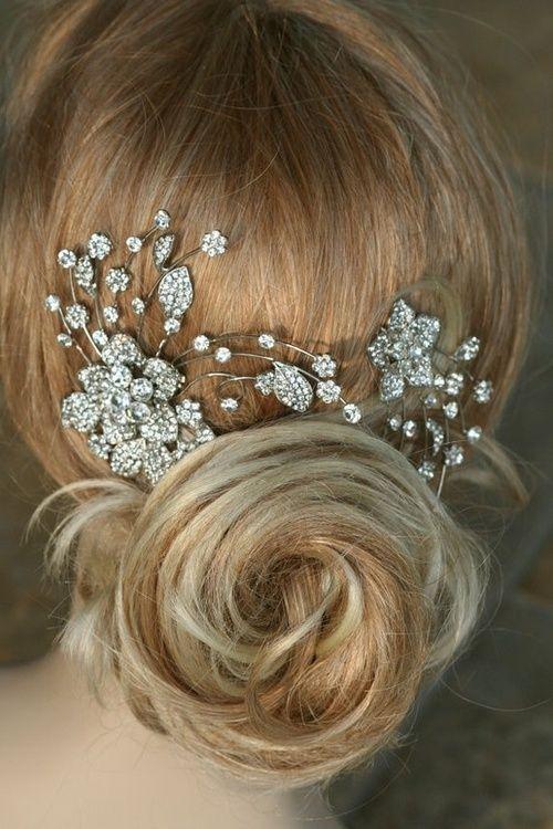 Bridal Hair Accessories For Buns : Hair jewellery rose bun diamonds sequins glitter