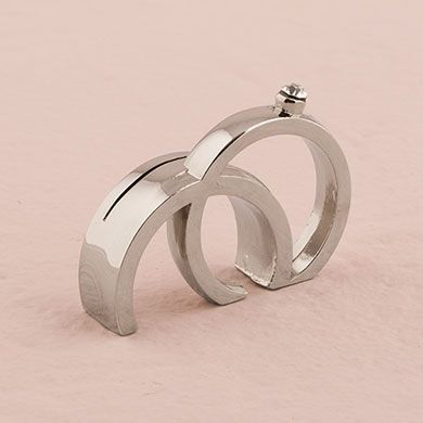 Double Rings with Crystal Place Card Holder