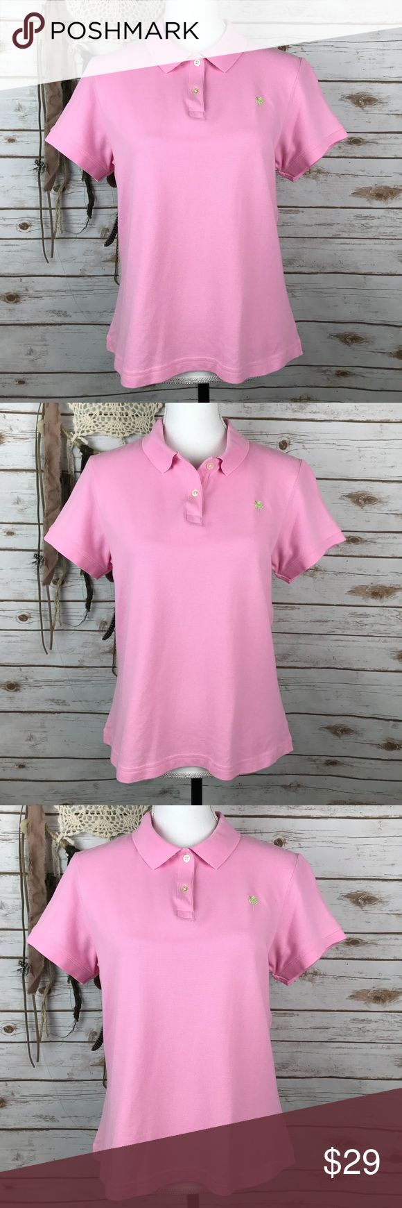 """NWOT Lilly Pulitzer Womens Pink Polo Shirt Pink  Size Large  Bust: 19"""" Waist: 23"""" Short Sleeves  Collared  Palm Tree Logo on Left Chest  Double Button Front Shrunken Style  95% Pima Cotton, 5% Spandex  Machine Wash  New without Tags  In excellent condition  No rips, holes, or stains Lilly Pulitzer Tops Blouses"""